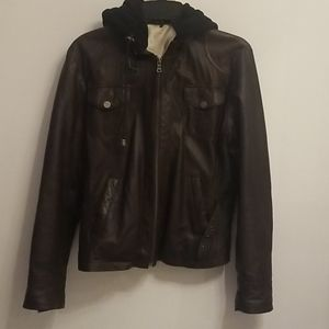 Leather Jacket w Fleece hood